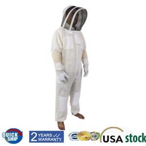 Siamese Mesh Protect Beekeeping Suit Xxl With Fencing Veil White With Gloves Xl