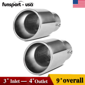 Dual Wall Exhaust Tip Fit For 2 3 Inlet 4 Outlet 9 Long Stainless Bolt On