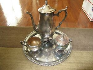 Wm Rogers Tea Coffee Set With Tray Silverplate