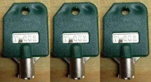 3 Tubular Green T 002 Keys For 1800 Vend Ssf Lypc V line Pro line Rare