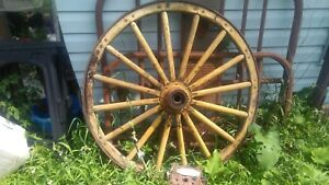 1 Large Antique Wooden Wagon Wheel 48 In
