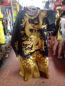 Chinese Royal Palace Embroidery Silk Cloth Emperor Black Golden Dragon Robe 15