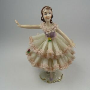 Dresden Germany Porcelain Lace Lady Victorian Dancer Figurine Vintage 1950 S