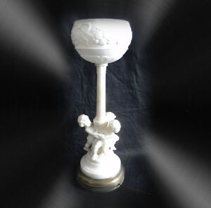 Alabaster Marble Tall Carved Cherub Table Lamp With Shade