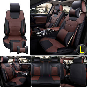 Luxury Microfiber Leather Car Seat Cover Cushion 5 seats Front rear With Pillows
