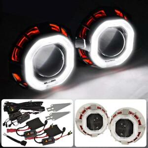 2 5 Retrofit Bi xenon Projector Dual Halo Angel Devil Ccfl Hid Headlight Kit