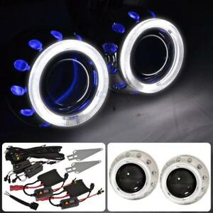 2 X Universal Retrofit Projector Headlights 2 5 H1 Hid Ccfl Dual Halo Rings
