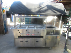 Hot Dog Cart Portable Steam Cart W Adjustable Canopy Propane Vending Food Cart