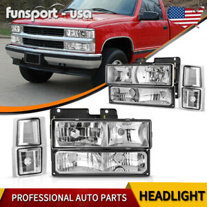 Chrome Housing Headlights For 94 98 Chevy C10 C k amber Turn Signal Side Lights