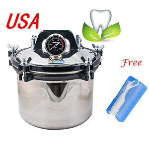 Usa 8l Portable Steam Autoclave Sterilizer Dental Stainless Steel Heating System