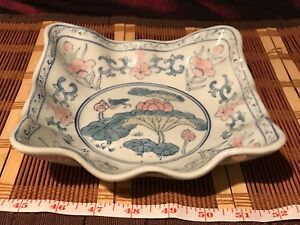 Asian Porcelain Sqare Blue White Pink Floral Design Bowl Scalloped Edge 7 1 8