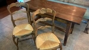 Rustic French Country Carved Wood Accent Chair Straw Seat Set Of 2