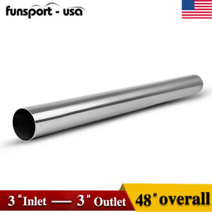 Od 3 Inlet Outlet 4 Feet Long Straight Exhaust Pipe Tubing Stainless Steel