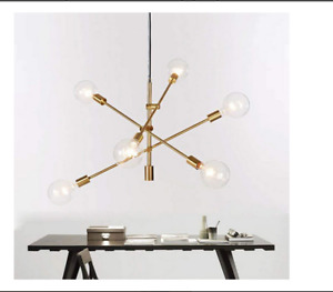 Modern Brass Stem Hung Chandelier 6 Light 3 Arms Pendant Ceiling Lamp Fixture