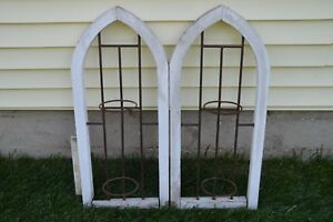 Vtg Architectural Wall Garden Arches Pair 29 Wood Iron Plant Holders Cemetary