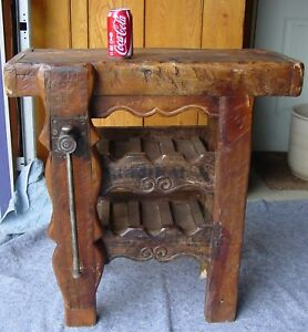 Early Antique French Wood Worker S Bench W Vise As Wine Holder 15498