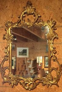 Vintage 20th C Italian Hand Carved Gilt Wall Mirror Stamped Made In Italy C1950