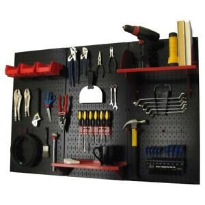 Wall Organizer Pegboard Kit Set Metal Garage Pegboards Black Storage Mount