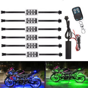 6x Multi Color Led Under Car Tube Strip Underbody Glow Neon Light Kit Wireless
