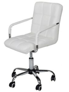 White Leather Computer Desk Chair Modern Office Executive Comfortable Adjustable
