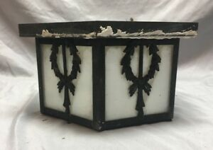 Antique Ceiling Light Fixture Decorative Wreath Milk Glass Old Vtg 101 18j