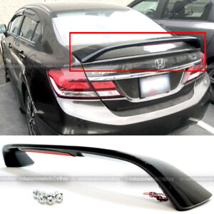 For 13 15 Honda Civic 4dr Glossy Black Trunk Spoiler Wing Led Brake Light Lamp