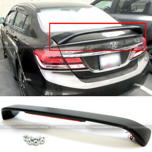 For 13 15 Honda Civic 4dr Si Unpainted Trunk Spoiler Wing Led Brake Light Lamp