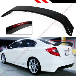 For 2012 2015 9th Gen Honda Civic Sedan Si Style Glossy Blk Trunk Spoiler W Led