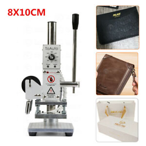 220v Leather Foil Stamping Machine Manual Hot Press Foil Stamper Embosser 8 10cm