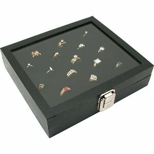 Glass Top Display Case 36 Slot Ring Insert Liner Storage Jewelry Box Us Seller