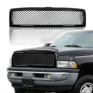 For 94 02 Dodge Ram Black Abs Diamond Meshed Front Bumper Upper Grille Guard