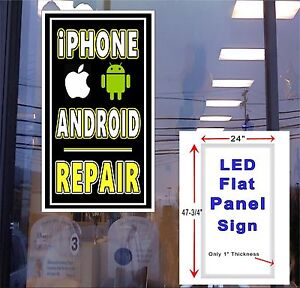 Andriod And Iphone Repair 24x48 Light Up Window Sign