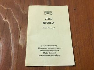 Carl Zeiss Ni 005a Automatic Level Operating Instructions English Surveyor