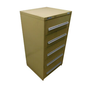 Stanley Vidmar 5 drawer Tool Cabinet Industrial Storage Tan 30 X 27 3 4 X 59
