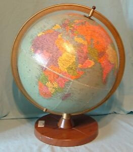 12 Vintage Reference Replogle Globe With Metal Base Chicago Il