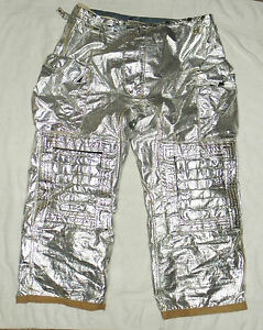 Morning Pride Silver Aluminated Rip Stop Fire Fighting Pants Nomex Size 46 X 35