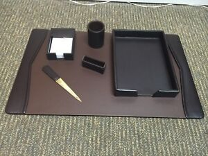 Bey Berk Brown Croco Leather Executive Desk Set New