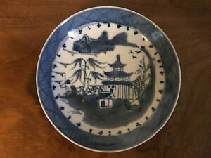 Antique Chinese Export Porcelain Plate Saucer Dish Bowl Blue White Canton 19th
