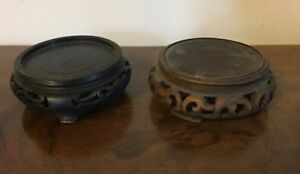 Two Carved Wood Round Display Stand For Chinese Kangxi Porcelain Vase Figure