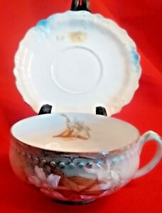 Vintage Hand Painted Cup Saucer