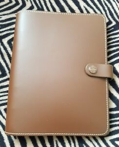 Filofax The Original Retro Brown A5 Leather Planner Agenda Ring Binder extras