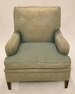 Vintage Chair Upholstered Mid Century Modern Furniture Mint Green Damask Fabric