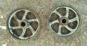 Antique Vintage Industrial Factory Cart Caster Cast Iron Wheel Lot 5 Across