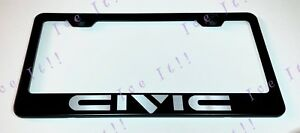 Civic Stainless Steel Metal Black License Plate Frame Rust Free W Caps