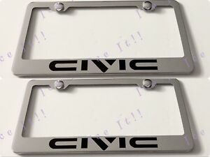 2x Civic Stainless Steel Metal License Plate Frame Rust Free W Caps