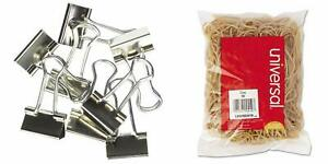 Unv11240 Universal Small Binder Clips With Universal 00419 19 size Rubber Band