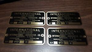 4 Vintage Hit And Miss Gas Engine International Harvester Type m Data Plates