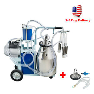 Pro Milker Electric Piston Vacuum Pump Milking Machine For Farm Cows Bucket Usa