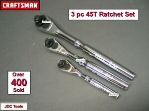 Craftsman Hand Tools 3pc 1 4 3 8 1 2 Full Polish Ratchet Socket Wrench Set