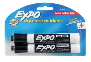 Expo Low Odor Dry Erase Markers New Chisel Tip Black 2 Pack